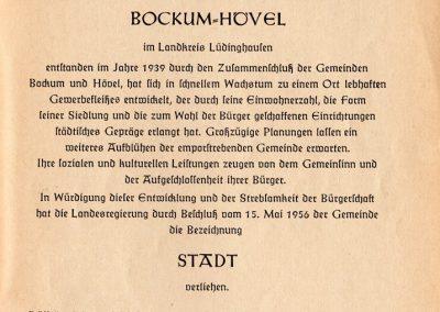 Bockum-Hövel - Ernennungsurkunde zur STADT vom 20. Mai 1956