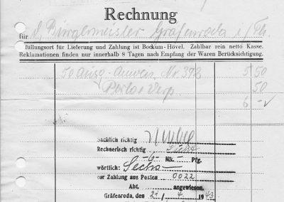 Bockum-Hövel - Rechnung Johann Weitfeld vom 17.04.1943