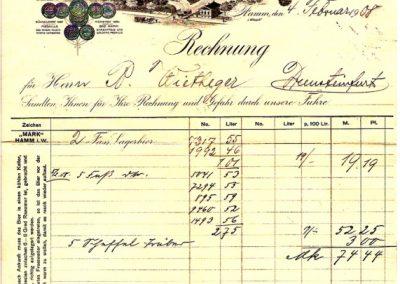 """Hamm - Rechnung Hammer Brauerei """"Mark"""" vom 04. Februar 1908"""
