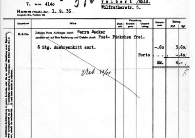 Hamm - Rechnung Hesse & Co. Lack- und Beizenfabrik vom 01. September 1936
