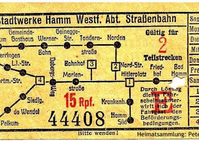 Hamm - Stadtwerke - Straßenbahnfahrschein I Vorderseite