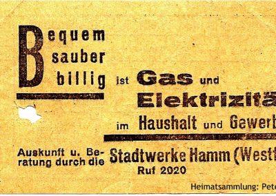 Hamm - Stadtwerke - Straßenbahnfahrschein I Rückseite