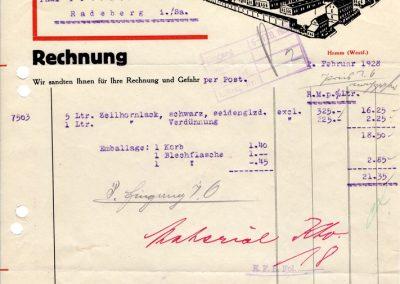 Hamm - Rechnung - Aktiengesellschaft für Lackfabrikation / 02. Februar 1928