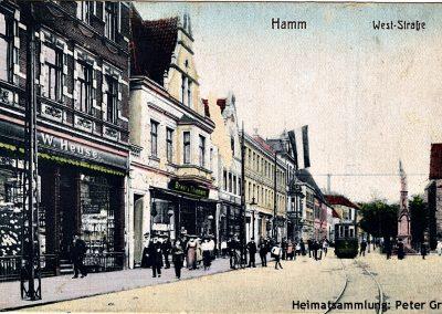 Hamm-Mitte / Weststraße / 1921 / Links Haushaltswaren W. Heuse und Druckerei und Buchhandlung Breer & Thiemann
